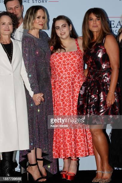 "Nina Jacobson, Sarah Paulson, Beanie Feldstein, Monica Lewinsky attend the premiere of FX's ""Impeachment: American Crime Story"" at Pacific Design..."