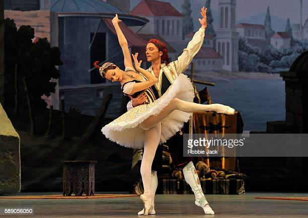 Nina Kaptsova and Vyacheslav Lopatin in the Bolshoi Ballet's production of Alexei Ratmansky's reworking of Marius Petipa's Le Corsaire at The Royal...
