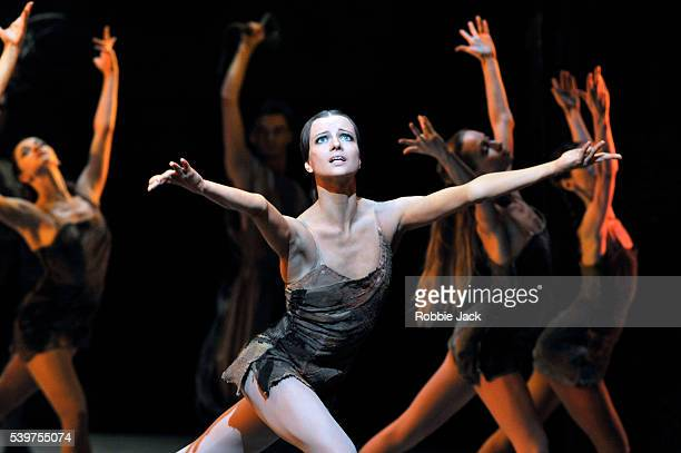 """Nina Kaptsova as Phrygia with artists of the company in the Bolshoi Ballet's production of Yuri Grigorovich's """"Spartacus"""" at the Royal Opera House..."""