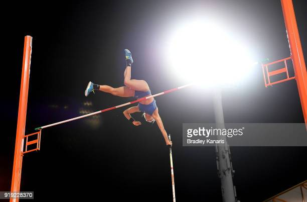 Nina Kennedy clears the bar in the final of the Women's pole vault event during the Australian Athletics Championships Nomination Trials at Carrara...