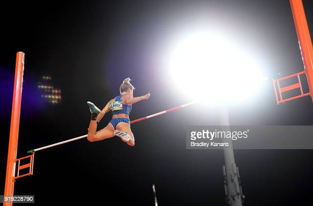 Nina Kennedy competes in the final of the Women's pole vault event during the Australian Athletics Championships Nomination Trials at Carrara Stadium...