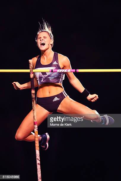 Nina Kennedy competes in the Womens Pole Vault during the Perth Track Classic at WA Athletics Stadium on March 12 2016 in Perth Australia