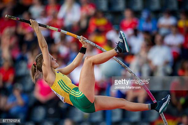 Nina Kennedy from Australia competes women's pole vault qualification round during the IAAF World U20 Championships at the Zawisza Stadium on July 19...