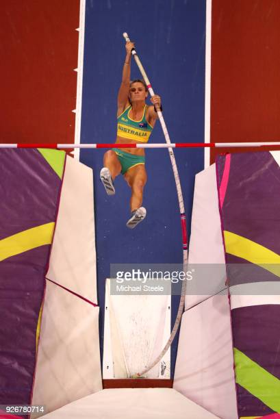 Nina Kennedy of Australia competes in the Pole Vault Womens Final during the IAAF World Indoor Championships on Day Three at Arena Birmingham on...
