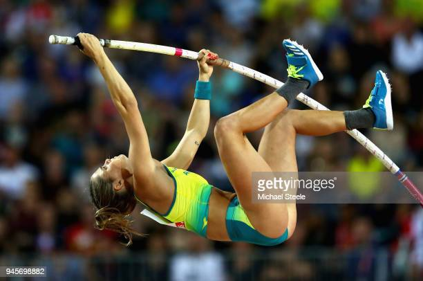 Nina Kennedy of Australia competes in the Women's Pole Vault during athletics on day nine of the Gold Coast 2018 Commonwealth Games at Carrara...