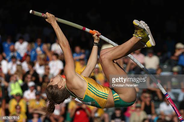 Nina Kennedy of Australia competes in the women's pole vault final during day three of the IAAF World Junior Championships at Hayward Field on July...