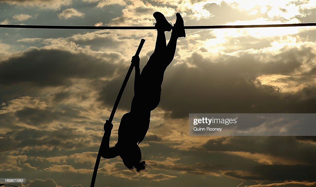 Nina Kennedy of Australia jumps in the Women's Pole Vault during the 2013 Melbourne Track Classic at Olympic Park on April 6, 2013 in Melbourne, Australia.