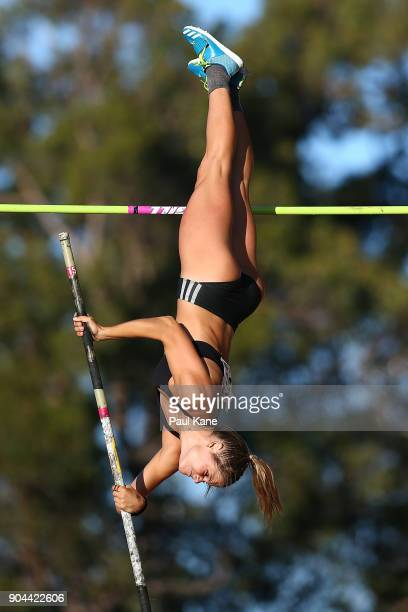 Nina Kennedy of WA competes in the women's pole vault during the Jandakot Airport Perth Track Classic at WA Athletics Stadium on January 13 2018 in...