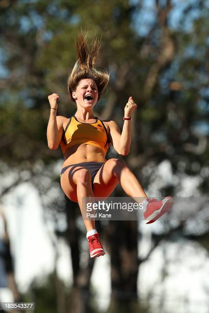 Nina Kennedy of Western Australia celebrates clearing 425mtrs in the Womens under 18 Pole Vault during day one of the Australian Junior Championships...