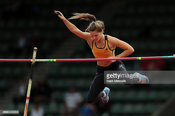 Nina Kennedy of Western Australia competes in the womens U20 pole vault event during the Australian Junior Athletics Championships at Sydney Olympic...