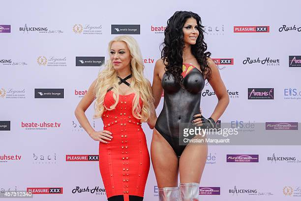 Nina Kristin and Micaela Schaefer attend the 'Venus Erotic Fair 2014' on October 17 2014 in Berlin Germany