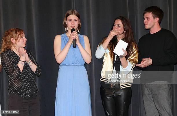 Nina Kronjaeger Amber Bongard Hanna Binke crying Katja von Garnier and Jannis Niewoehner during the German premiere of the film 'Ostwind 2' on May 3...