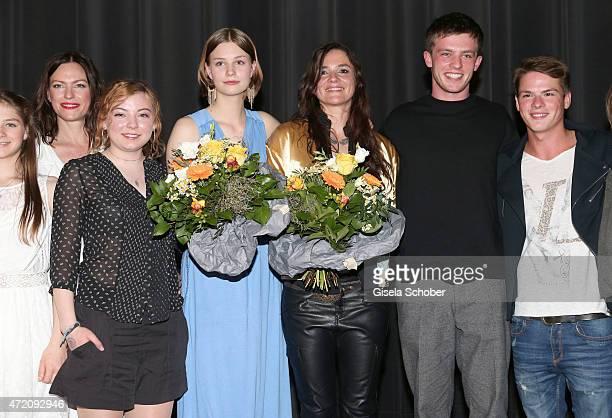 Nina Kronjaeger Amber Bongard Hanna Binke Katja von Garnier Jannis Niewoehner and Marvin Linke during the German premiere of the film 'Ostwind 2' on...
