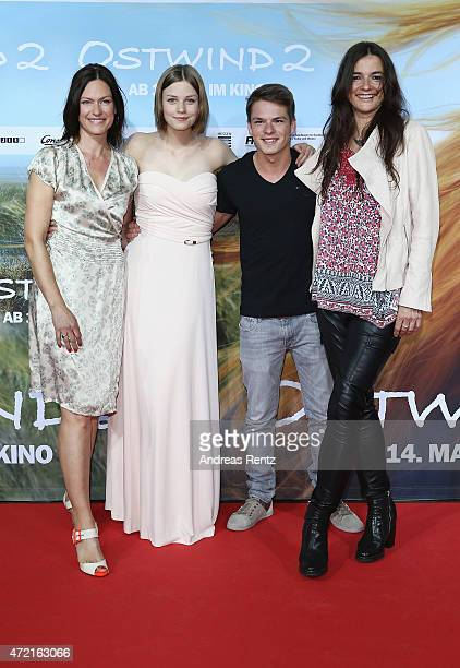 Nina Kronjaeger Hanna Binke Marvin Linke and director Katja von Garnier attend the Frankfurt premiere of the film 'Ostwind 2' at Cinestar on May 4...