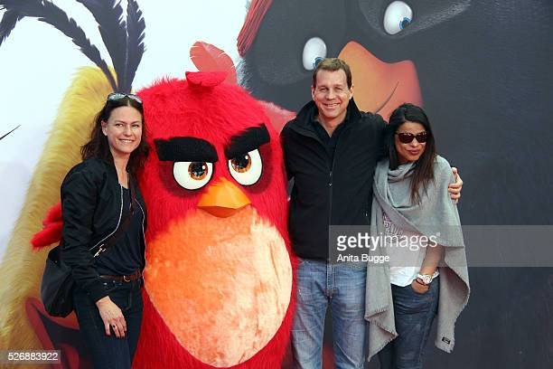 Nina Kronjaeger Thomas Heinze and Jackie Brown attend the Berlin premiere of the film 'Angry Birds Der Film' at CineStar on May 1 2016 in Berlin...
