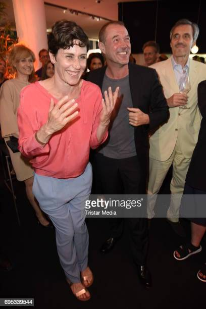 Nina Kunzendorf and Sebastian Koch attend the Cocktail prolonge to the SemiFinal Round of Judging of the International Emmy Awards 2017 on June 12...