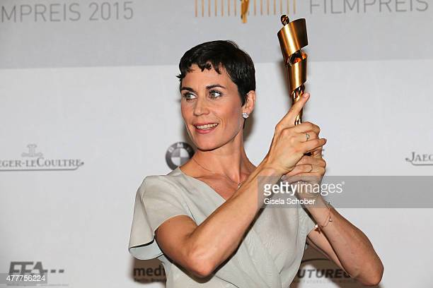 Nina Kunzendorf poses with the Lola for best supporting actress at the German Film Award 2015 Lola winners board at Messe Berlin on June 19 2015 in...