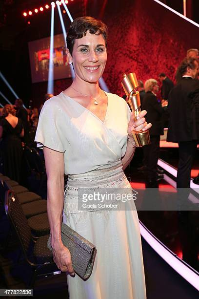 Nina Kunzendorf with award during the German Film Award 2015 Lola party at Palais am Funkturm on June 19 2015 in Berlin Germany