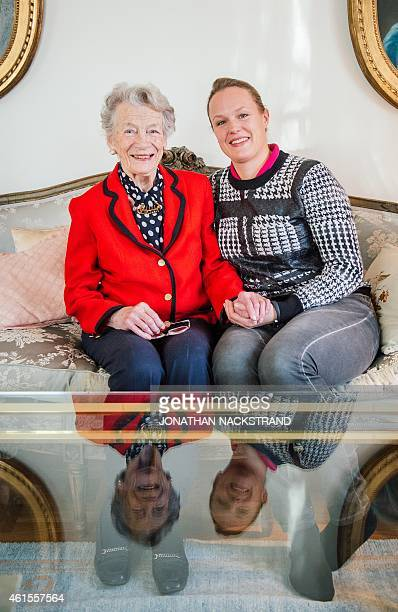 Nina Lagergren 93yearold halfsister of Raoul Wallenberg sits next sits to her granddaughter 41yearold Cecilia Aahlberg at her apartment on January 13...