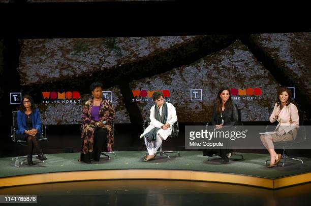 Nina Lakhani Mae Jamison Christiana Figueres Cristina Mittermeier and Juju Chang speak at the 10th Anniversary Women In The World Summit at David H...