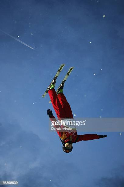 Nina Li of China competes in the Womens Freestyle Skiing Aerials Qualifying on Day 11 of the 2006 Turin Winter Olympic Games on February 21 2006 in...