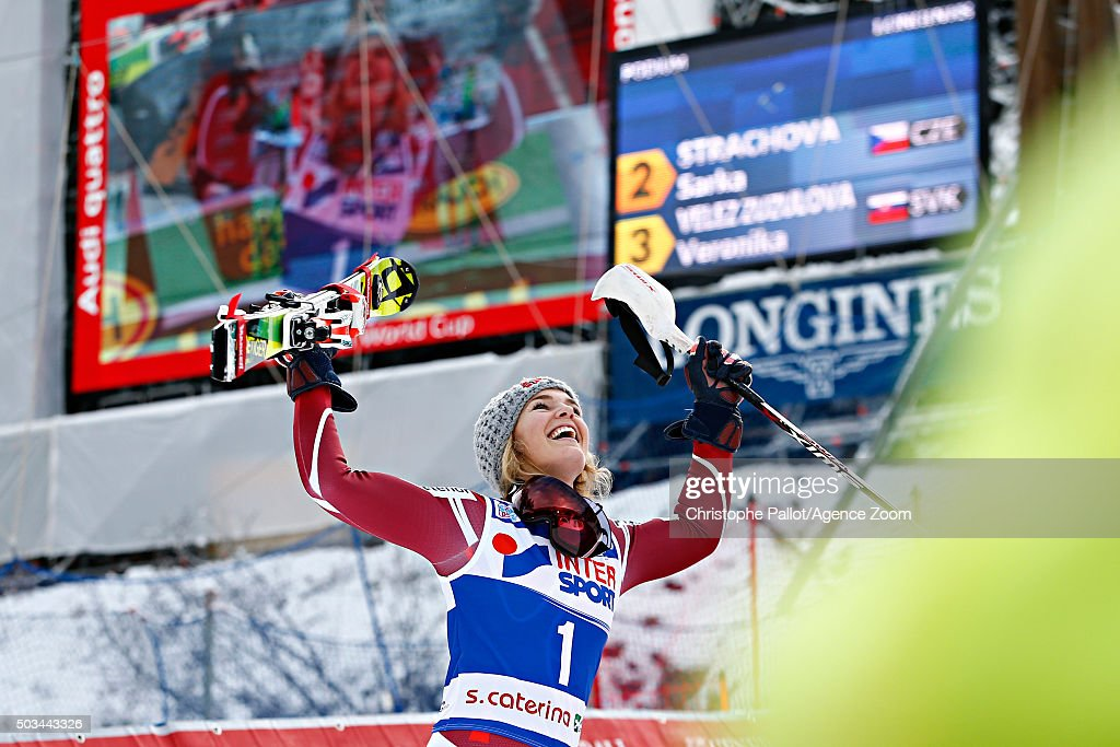 Nina Loeseth of Norway takes 1st place during the Audi FIS Alpine Ski World Cup Women's Slalom on January 05, 2016 in Santa Caterina Valfurva, Italy.