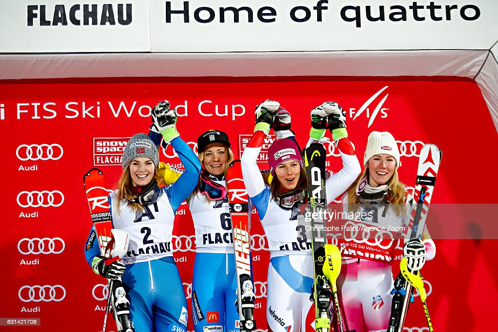 Nina Loeseth of Norway takes 2nd place, Frida Hansdotter of Sweden takes 1st place, Mikaela Shiffrin of USA takes 3rd place, Wendy Holdener of Switzerland takes 3rd place during the Audi FIS Alpine Ski World Cup Women's Slalom on January 10, 2017 in Flachau, Austria