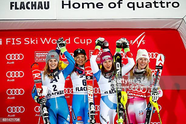 Nina Loeseth of Norway takes 2nd place Frida Hansdotter of Sweden takes 1st place Mikaela Shiffrin of USA takes 3rd place Wendy Holdener of...