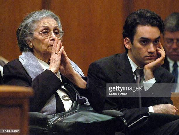 Nina Lopez the dead woman's mother and their son Ed Locascio Jr watch procedings on Feb 20 2007 during the opening day of Ed Locascio's trial in...