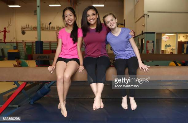 """Nina Lu, Laurie Hernandez, Hannah Nordberg attend an Amazon Original Special """"An American Girl Story - Ivy & Julie 1976: A Happy Balance"""" Photo Call..."""