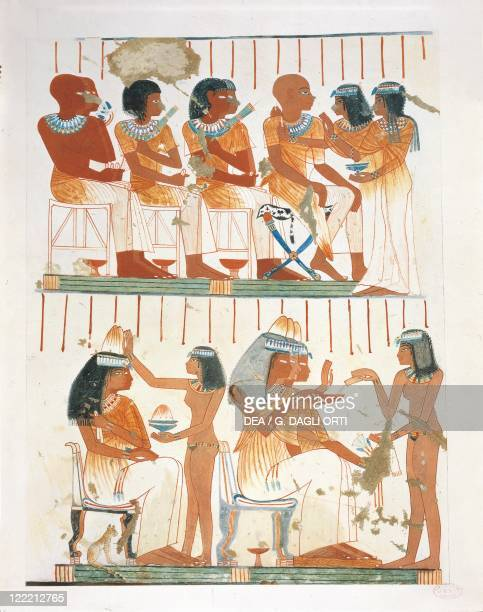 Nina M Davies 'Ancient Egyptian Painting' Chicago1936 Plate banquet preparation guests being scented and adorned with necklaces Replica of fresco...
