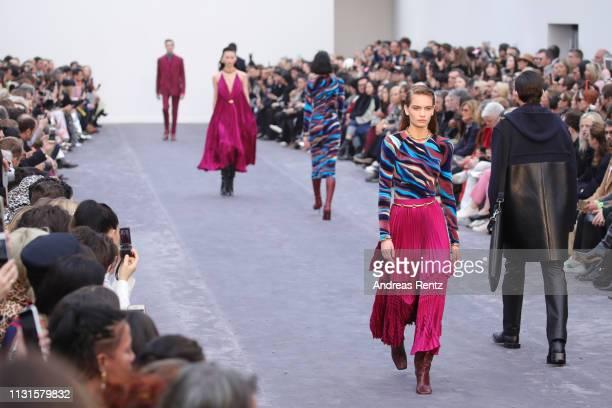 Nina Marker walks the runway at the Roberto Cavalli show at Milan Fashion Week Autumn/Winter 2019/20 on February 23, 2019 in Milan, Italy.