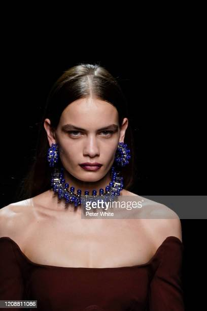 Nina Marker walks the runway during the Mugler show as part of the Paris Fashion Week Womenswear Fall/Winter 2020/2021 on February 26, 2020 in Paris,...
