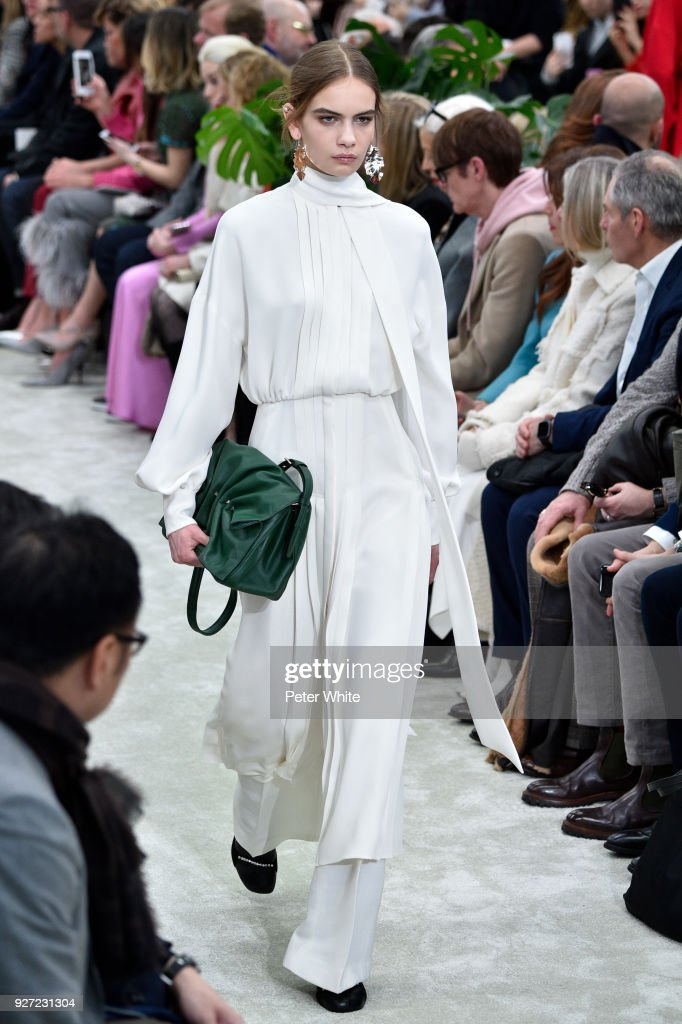 Nina Marker walks the runway during the Valentino show as part of the Paris Fashion Week Womenswear Fall/Winter 2018/2019 on March 4, 2018 in Paris, France.