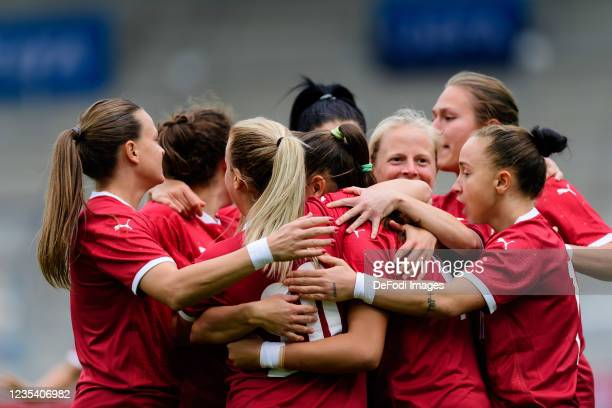 Nina Matejic of Serbia celebrates after scoring his team's first goal with teammates during the FIFA Women's World Cup 2023 Qualifier group H match...