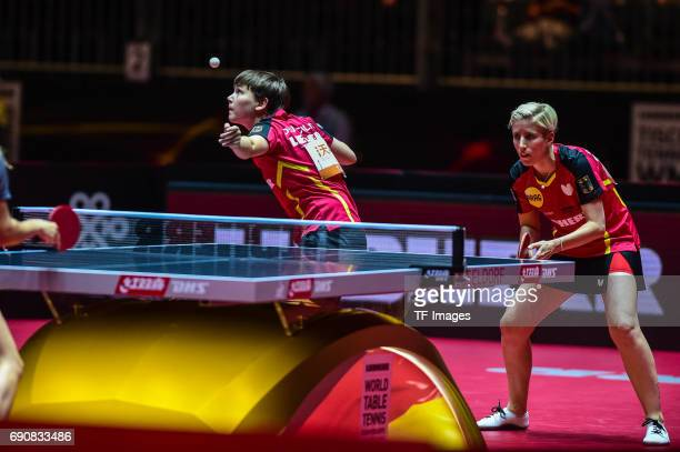Nina Mittelham and Kristin Silbereisen of Germany in action during the Table Tennis World Championship at Messe Duesseldorf on May 30, 2017 in...