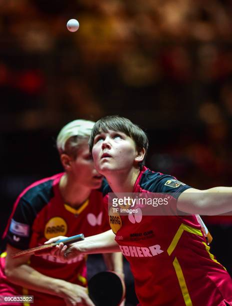 Nina Mittelham of Germany in action during the Table Tennis World Championship at Messe Duesseldorf on May 30, 2017 in Dusseldorf, Germany.