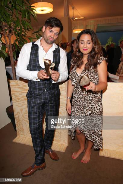 Nina Moghaddam and her partner Dominik Kowalski with a damaged shoe during the CHIO 2019 Media Night on July 16 2019 in Aachen Germany