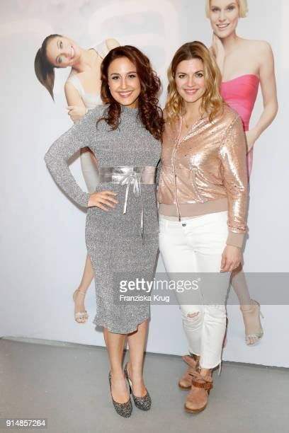 Nina Moghaddam and Nina Bott during the presentation of the new hairfree campaign on February 6 2018 in Darmstadt Germany