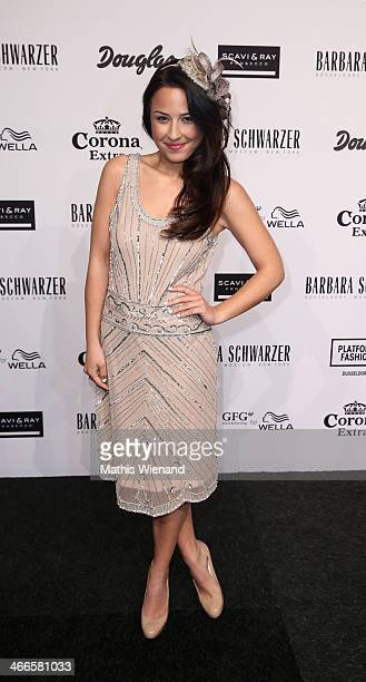 Nina Moghaddam arrives for the Barbara Schwarzer fashion show during Platform Fashion Dusseldorf on February 2 2014 in Dusseldorf Germany