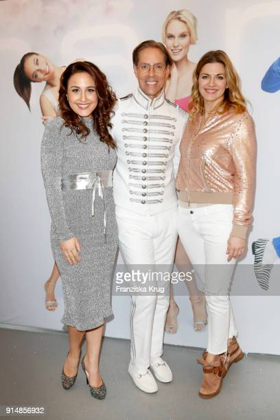 Nina Moghaddam Jens Hilbert and Nina Bott during the presentation of the new hairfree campaign on February 6 2018 in Darmstadt Germany