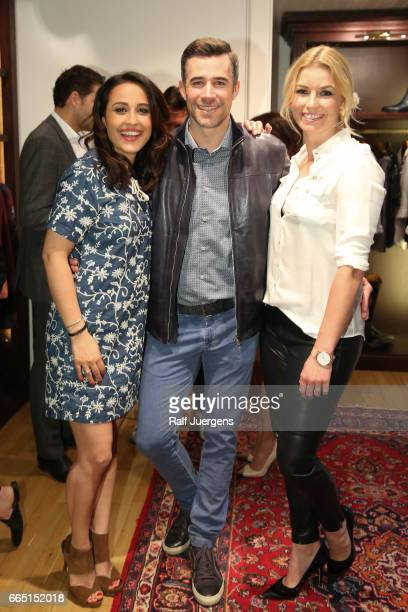 Nina Moghaddam Jo Weil and Annica Hansen attend the La Martina get together at their showroom on April 5 2017 in Duesseldorf Germany