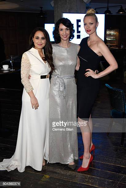 Nina Moghaddam Managing Director NBCUniversal Katharina Behrends and Franziska Knuppe attend E Red Carpet Influencer Suite promoting Live from the...