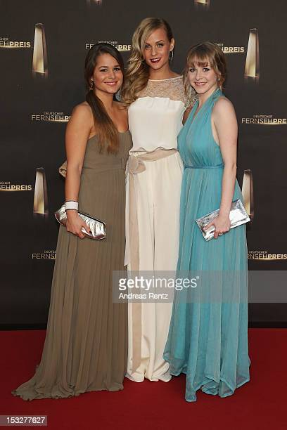 Nina Moghaddam, Mirjam Weichselbraun and Jasmin Schwiers arrive for the German TV Award 2012 at Coloneum on October 2, 2012 in Cologne, Germany.