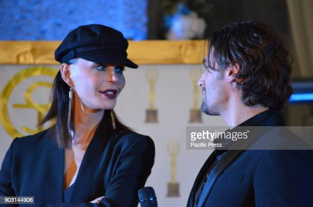 Nina Moric Croatian model and show girl and Alessandro Cecchi Paone Italian scientific journalist were celebrity guests at the ST Oscar of Fashion at...