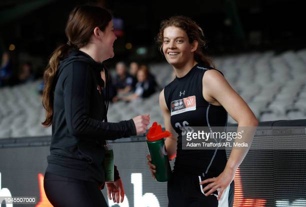 Nina Morrison looks on after winning the yo yo test during the AFLW Draft Combine at Marvel Stadium on October 3 2018 in Melbourne Australia