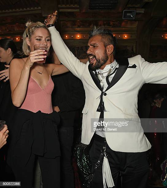 Nina Nesbitt and Azim Majid attend the Ibiza Rocks the Box Christmas Party at The Box Soho on December 8 2015 in London England