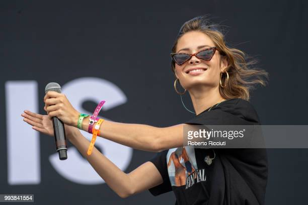 Nina Nesbitt joins Lewis Capaldi on stage during TRNSMT Festival Day 5 at Glasgow Green on July 8 2018 in Glasgow Scotland