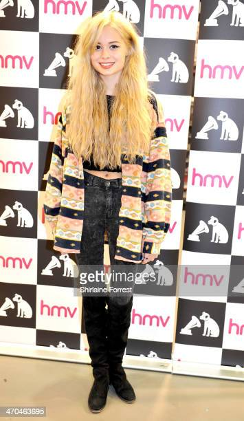Nina Nesbitt meets fans and signs copies of her new album 'Peroxide' at HMV Manchester on February 19 2014 in Manchester England