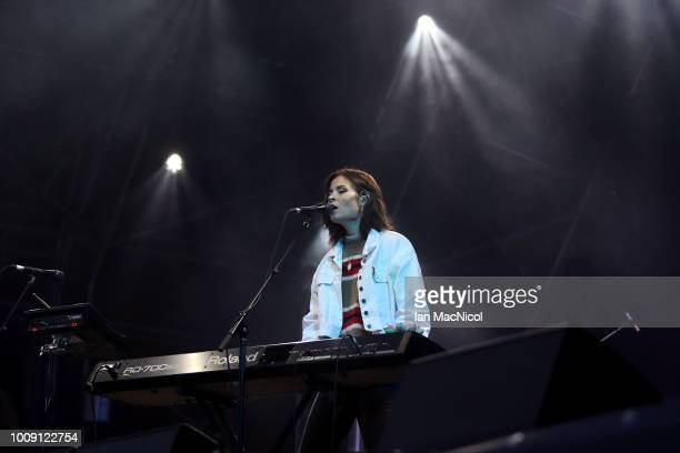 Nina Nesbitt performs during the European Championships Glasgow 2018 Opening Moment at George Square on August 1 2018 in Glasgow Scotland